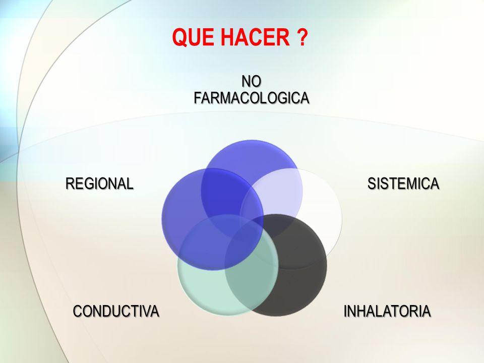 QUE HACER NO FARMACOLOGICA SISTEMICA INHALATORIA CONDUCTIVA REGIONAL