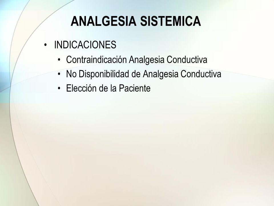 ANALGESIA SISTEMICA INDICACIONES Contraindicación Analgesia Conductiva