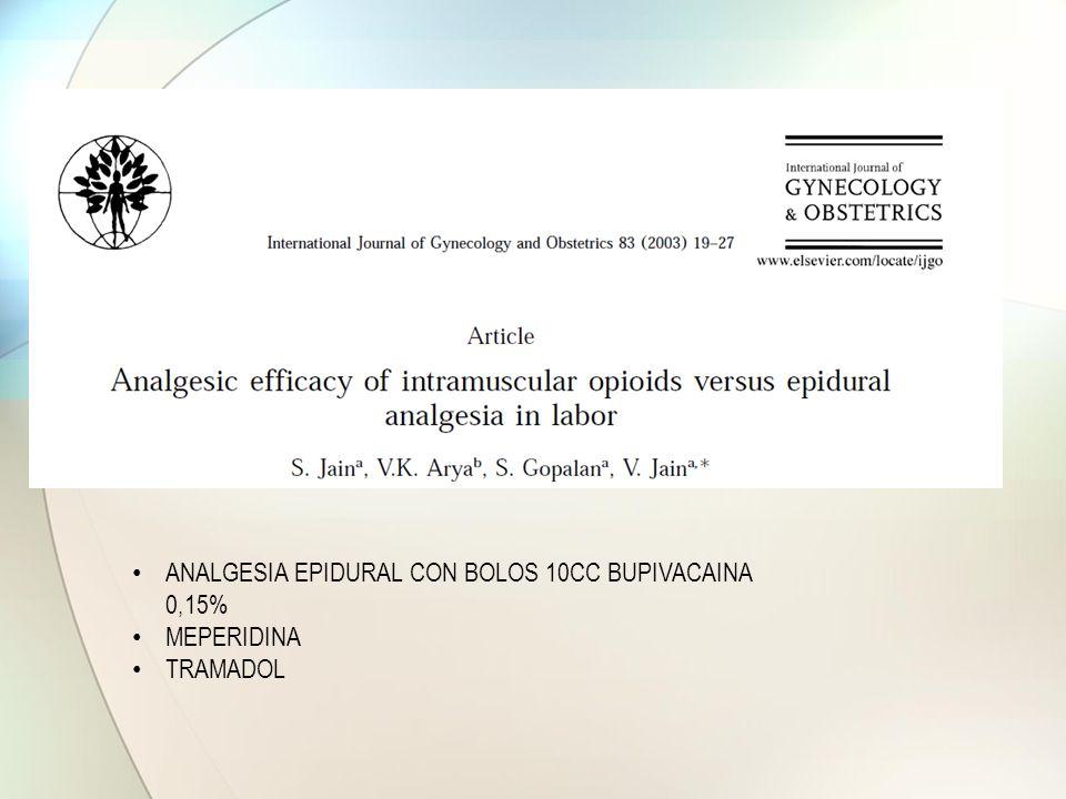 ANALGESIA EPIDURAL CON BOLOS 10CC BUPIVACAINA 0,15%