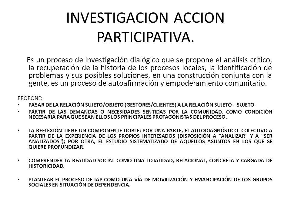 INVESTIGACION ACCION PARTICIPATIVA.