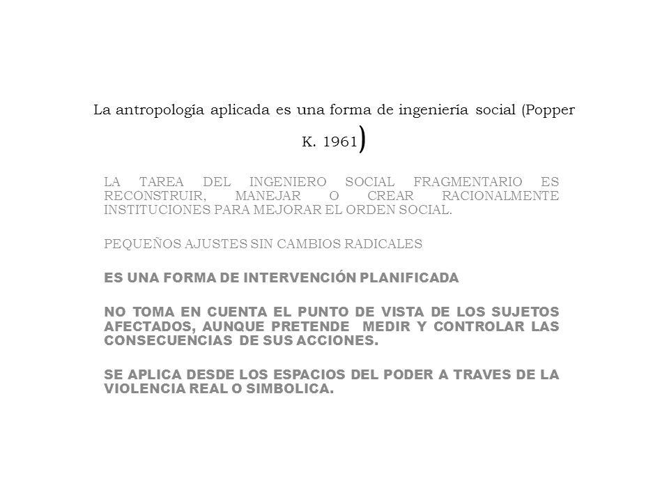 La antropología aplicada es una forma de ingeniería social (Popper K