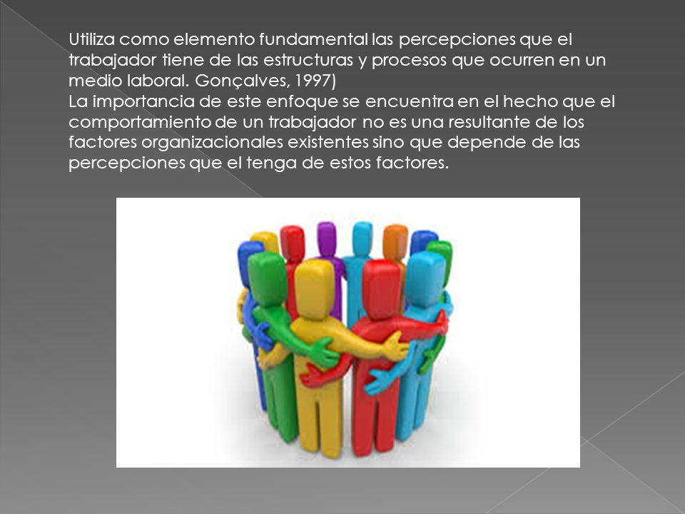 Utiliza como elemento fundamental las percepciones que el trabajador tiene de las estructuras y procesos que ocurren en un medio laboral. Gonçalves, 1997)