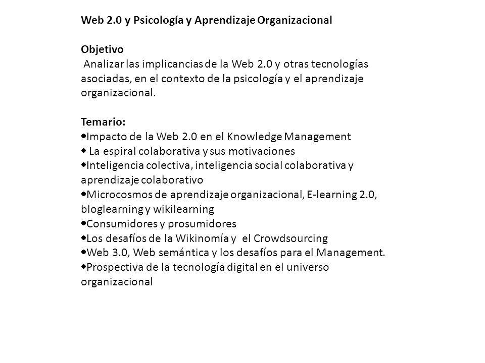 Web 2.0 y Psicología y Aprendizaje Organizacional