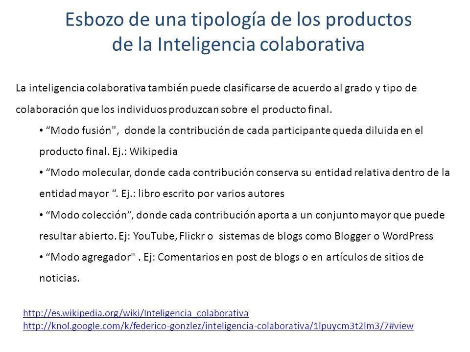 Esbozo de una tipología de los productos de la Inteligencia colaborativa