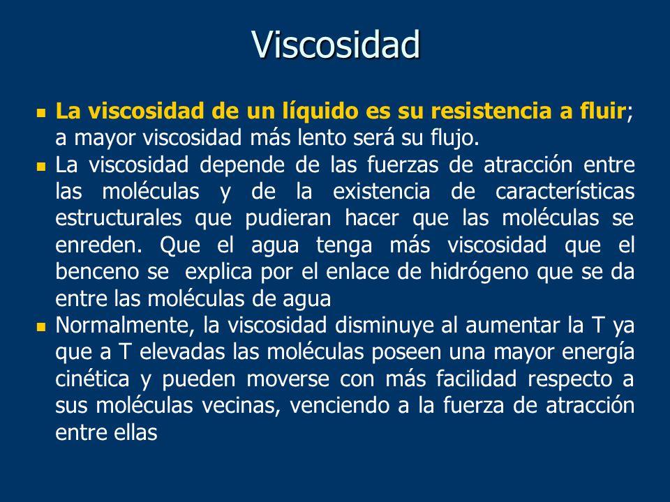Viscosidad La viscosidad de un líquido es su resistencia a fluir; a mayor viscosidad más lento será su flujo.