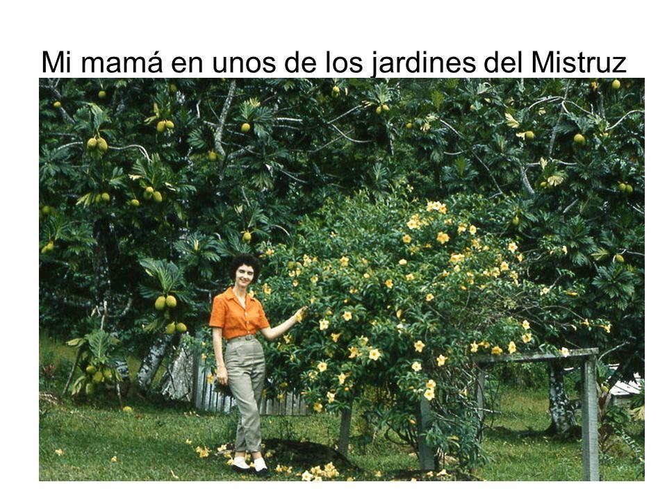 Mi mamá en unos de los jardines del Mistruz