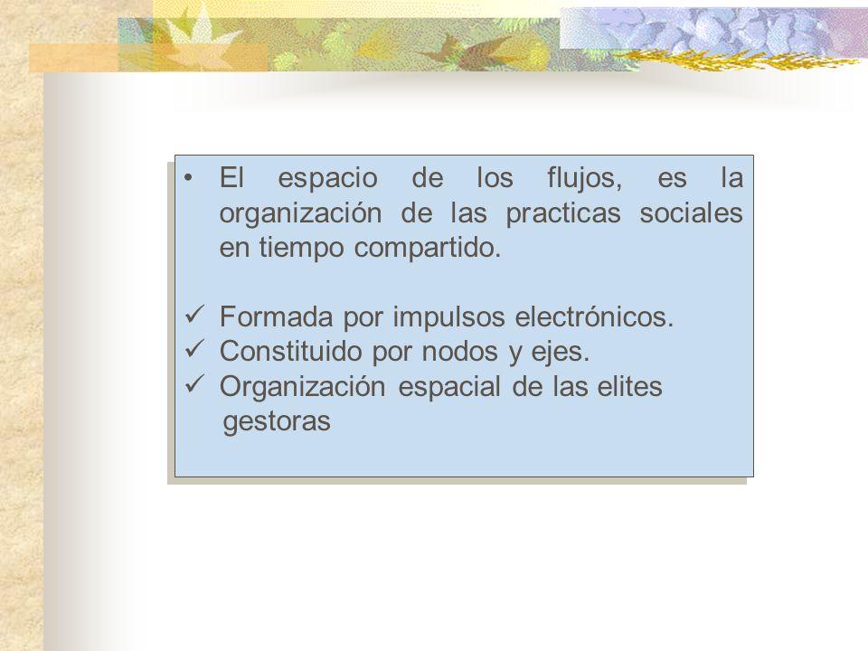 El espacio de los flujos, es la organización de las practicas sociales en tiempo compartido.