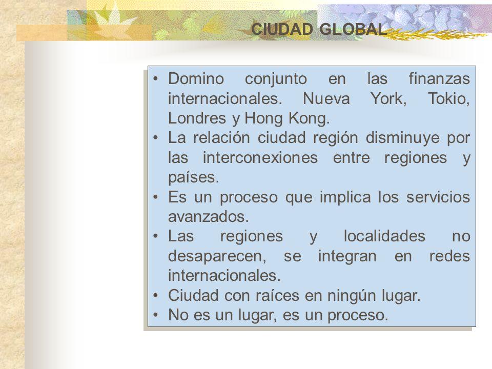 CIUDAD GLOBALDomino conjunto en las finanzas internacionales. Nueva York, Tokio, Londres y Hong Kong.