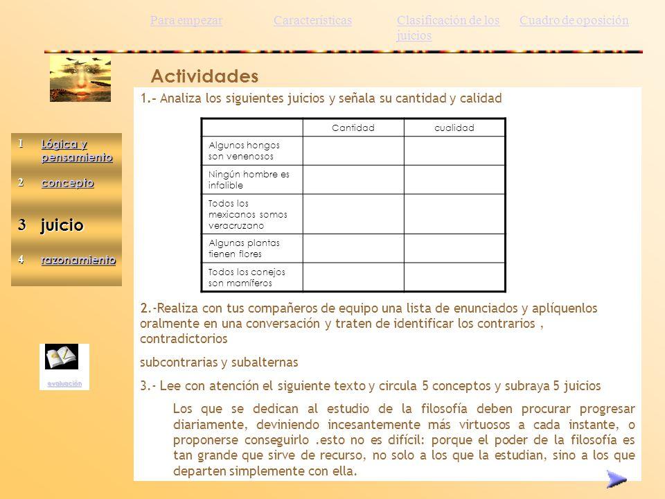Actividades 3 juicio Para empezar Características