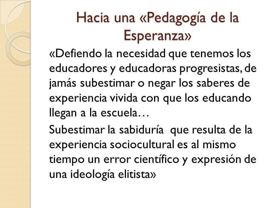Hacia una «Pedagogía de la Esperanza»
