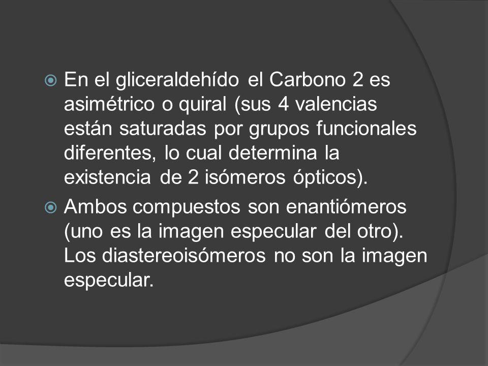 En el gliceraldehído el Carbono 2 es asimétrico o quiral (sus 4 valencias están saturadas por grupos funcionales diferentes, lo cual determina la existencia de 2 isómeros ópticos).