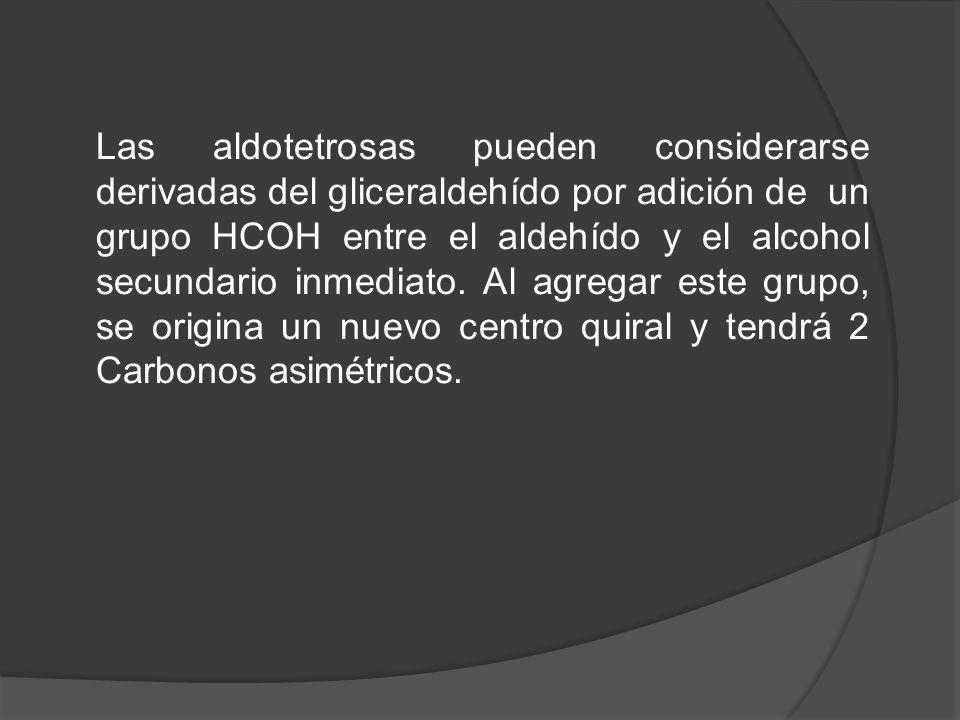 Las aldotetrosas pueden considerarse derivadas del gliceraldehído por adición de un grupo HCOH entre el aldehído y el alcohol secundario inmediato.