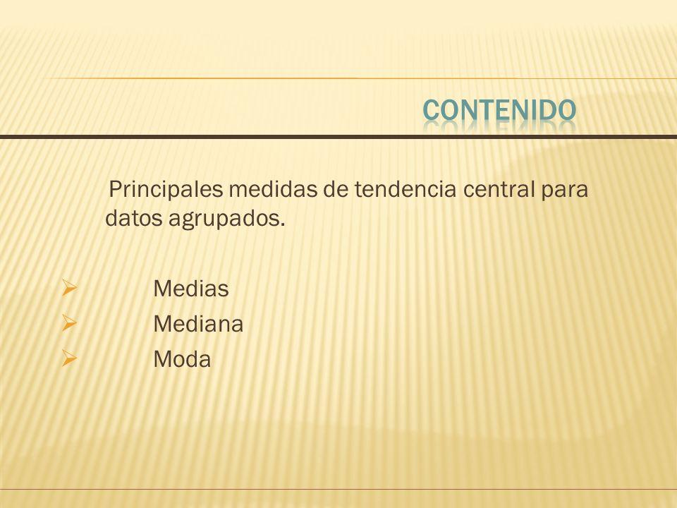 CONTENIDO Principales medidas de tendencia central para datos agrupados. Medias Mediana Moda