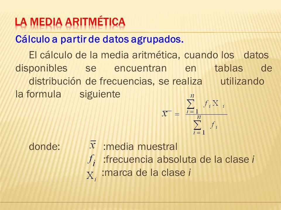 La Media aritmética Cálculo a partir de datos agrupados.
