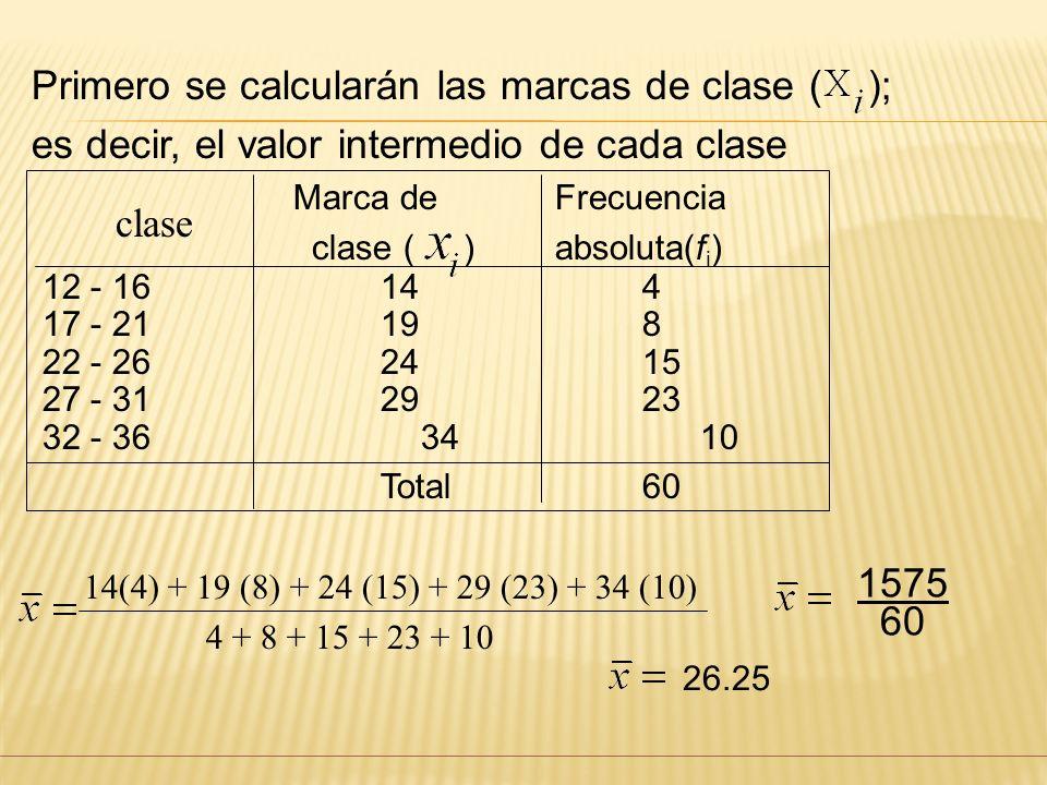 Primero se calcularán las marcas de clase ( );