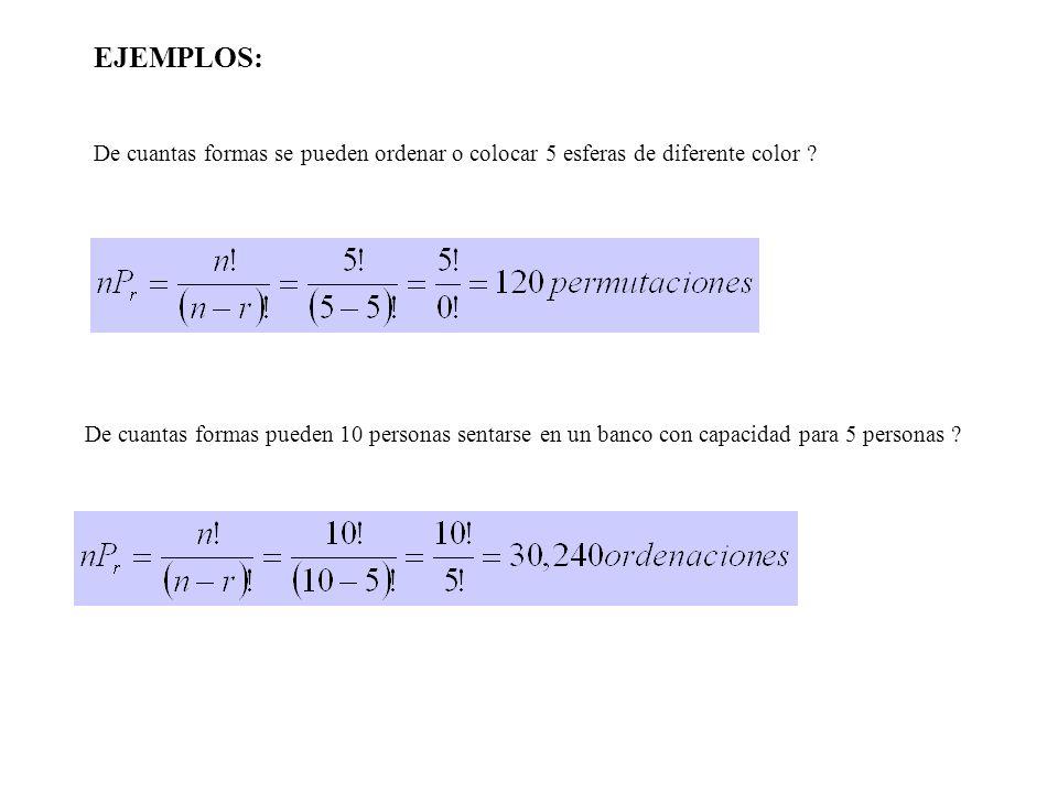EJEMPLOS: De cuantas formas se pueden ordenar o colocar 5 esferas de diferente color