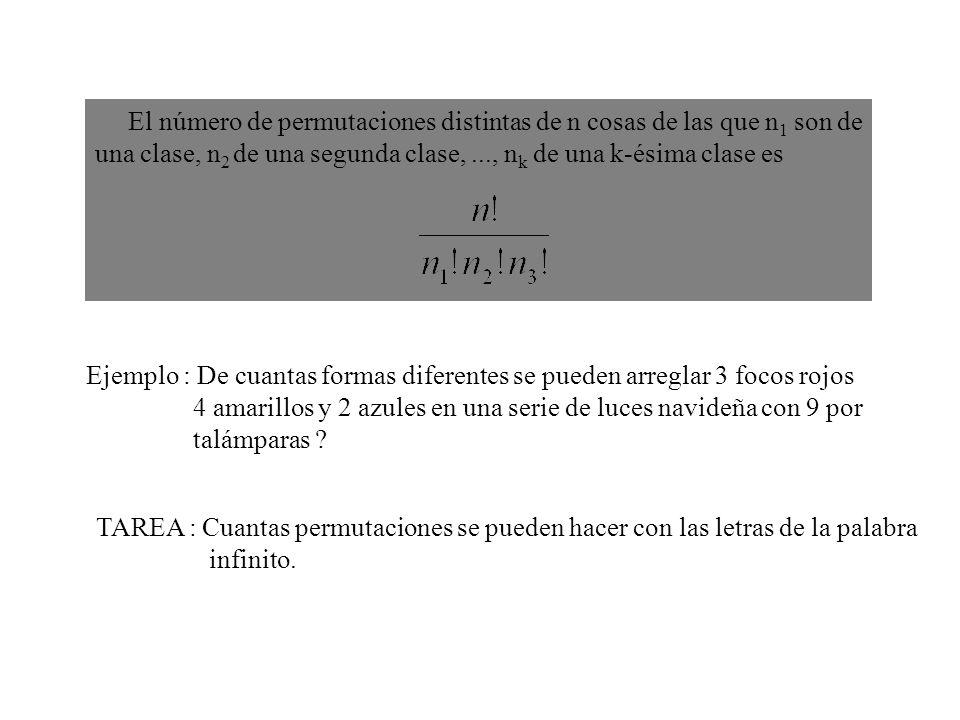 El número de permutaciones distintas de n cosas de las que n1 son de