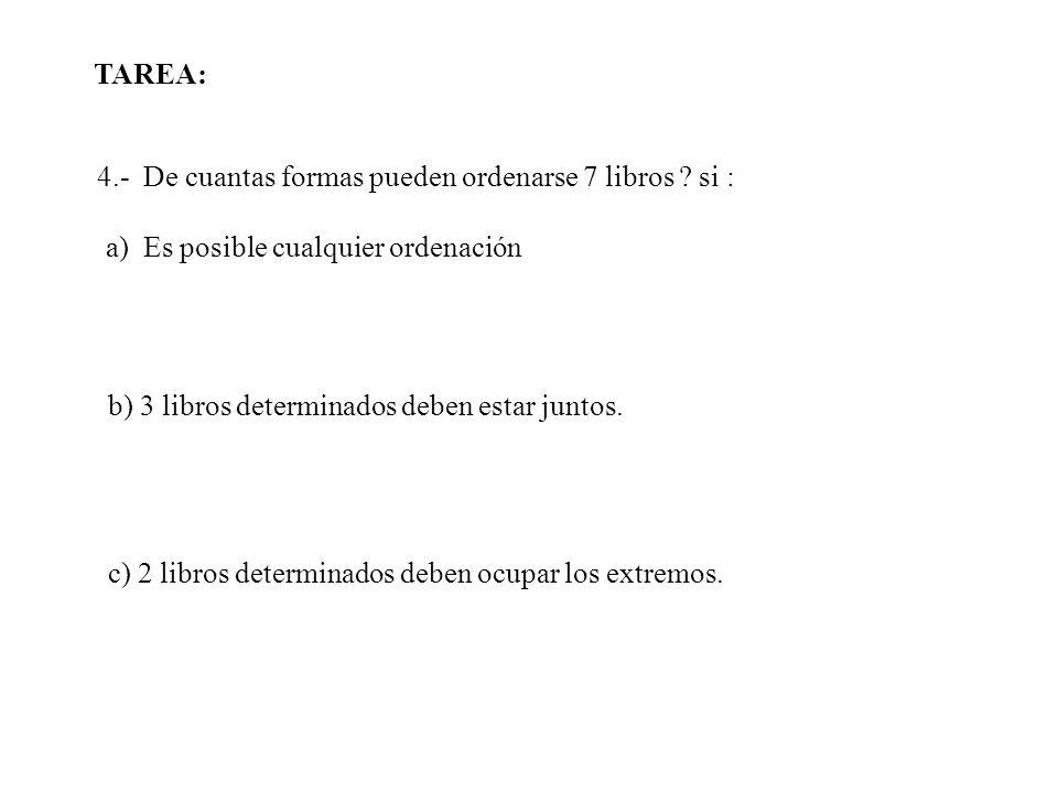 TAREA: 4.- De cuantas formas pueden ordenarse 7 libros si : a) Es posible cualquier ordenación.
