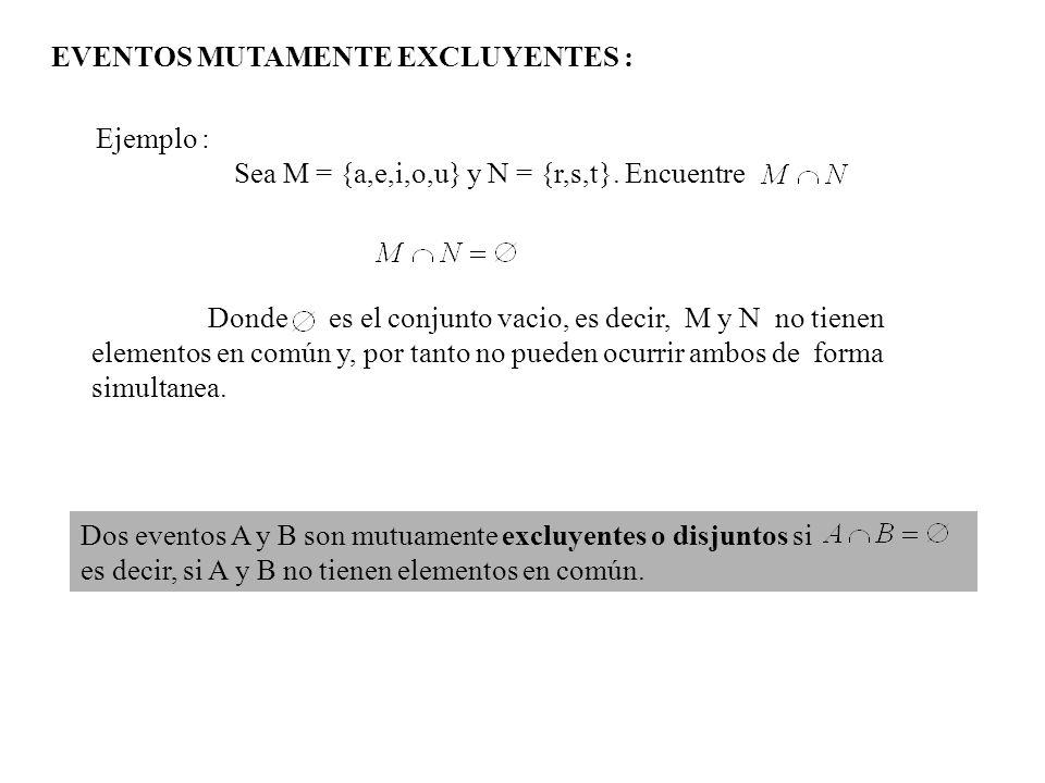 EVENTOS MUTAMENTE EXCLUYENTES :