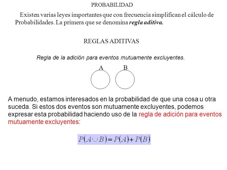 Probabilidades. La primera que se denomina regla aditiva.