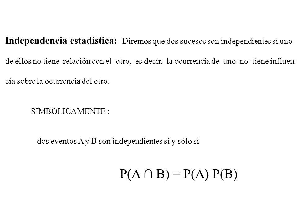 Independencia estadística: Diremos que dos sucesos son independientes si uno