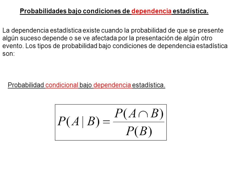 Probabilidades bajo condiciones de dependencia estadística.