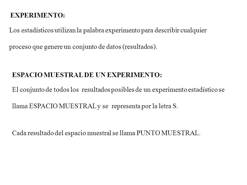 EXPERIMENTO: Los estadísticos utilizan la palabra experimento para describir cualquier. proceso que genere un conjunto de datos (resultados).