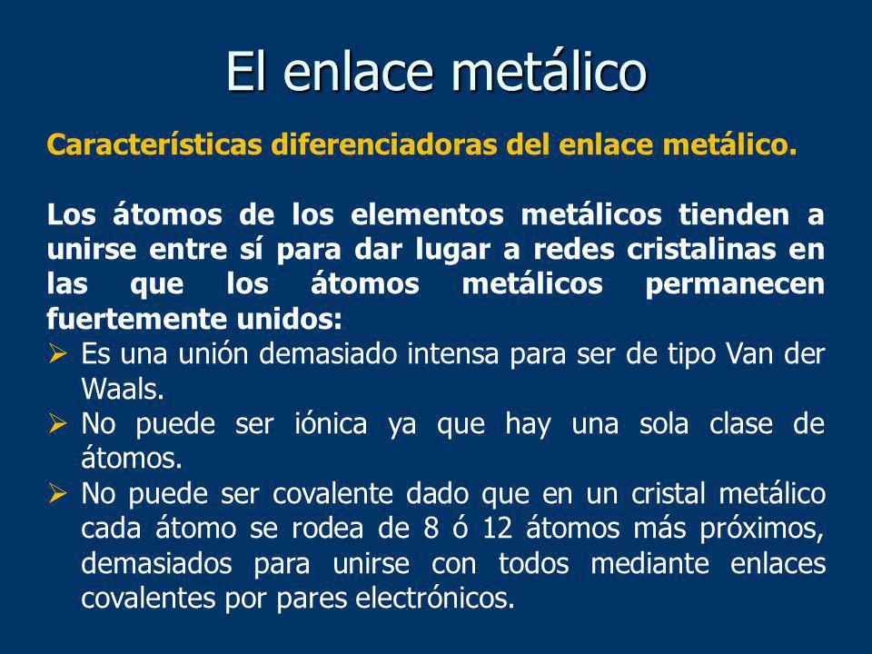 El enlace metálico Características diferenciadoras del enlace metálico.