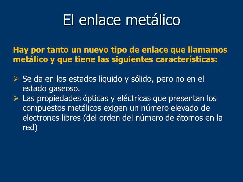 El enlace metálico Hay por tanto un nuevo tipo de enlace que llamamos metálico y que tiene las siguientes características: