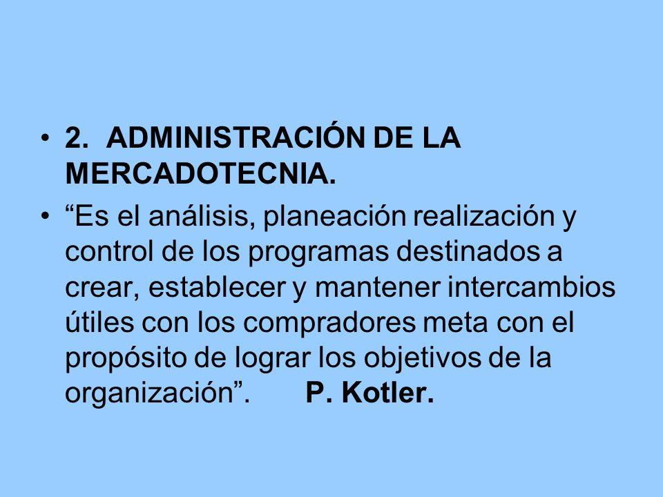 2. ADMINISTRACIÓN DE LA MERCADOTECNIA.