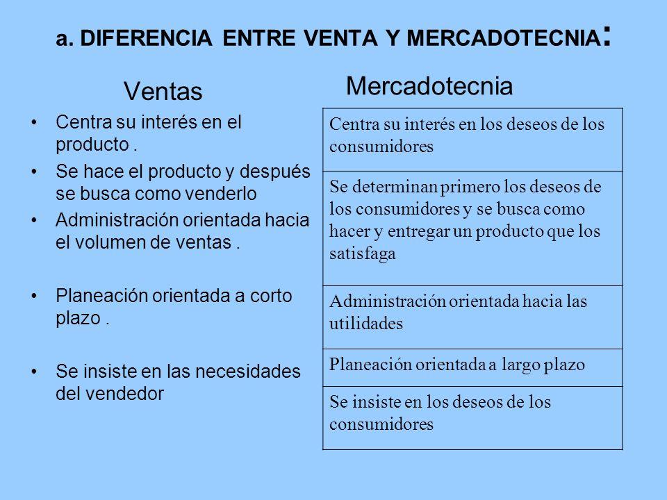 a. DIFERENCIA ENTRE VENTA Y MERCADOTECNIA: