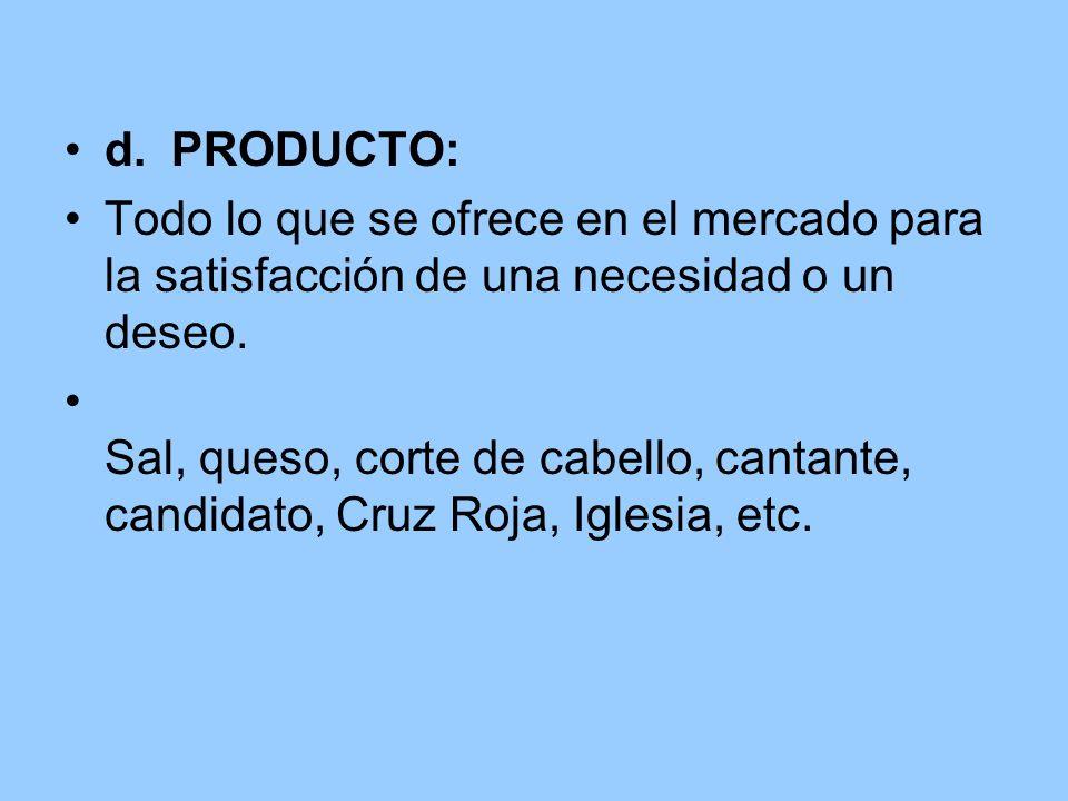 d. PRODUCTO:Todo lo que se ofrece en el mercado para la satisfacción de una necesidad o un deseo.
