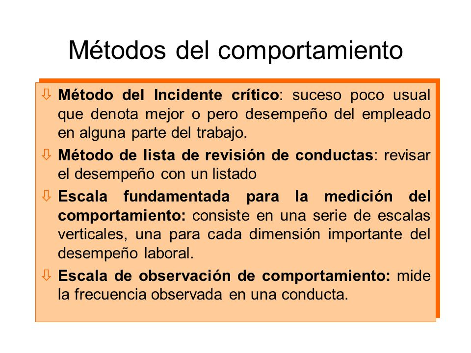 Métodos del comportamiento