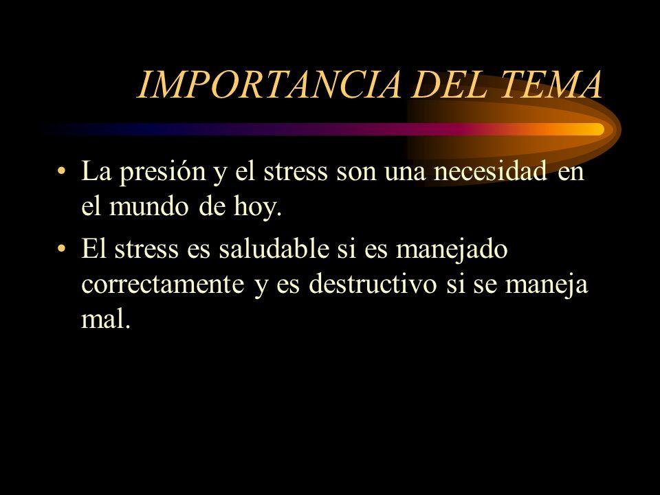 IMPORTANCIA DEL TEMA La presión y el stress son una necesidad en el mundo de hoy.