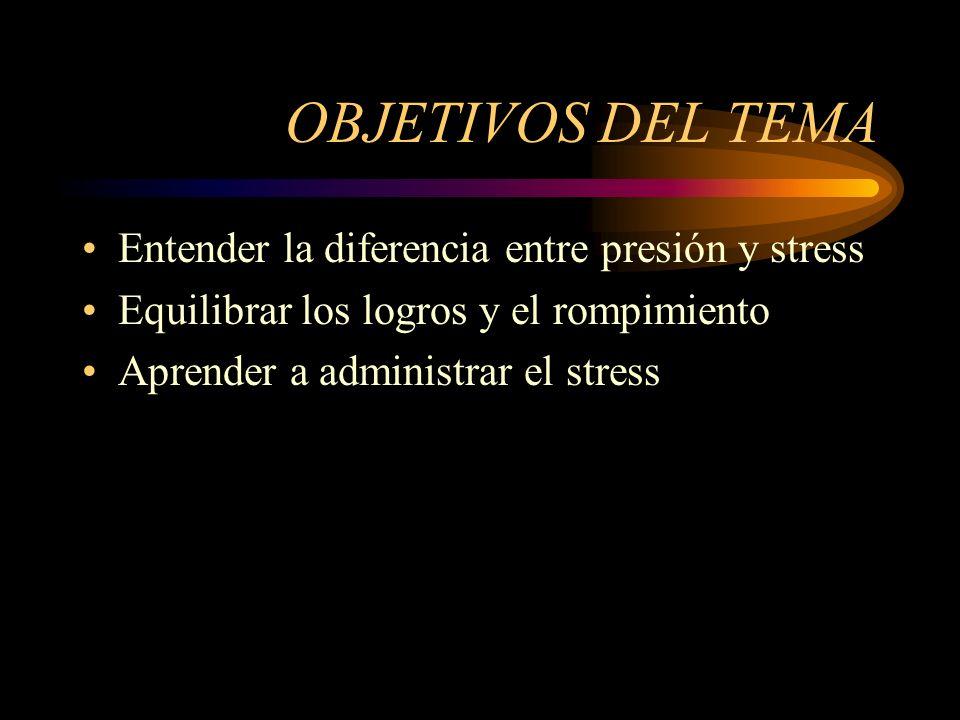 OBJETIVOS DEL TEMA Entender la diferencia entre presión y stress
