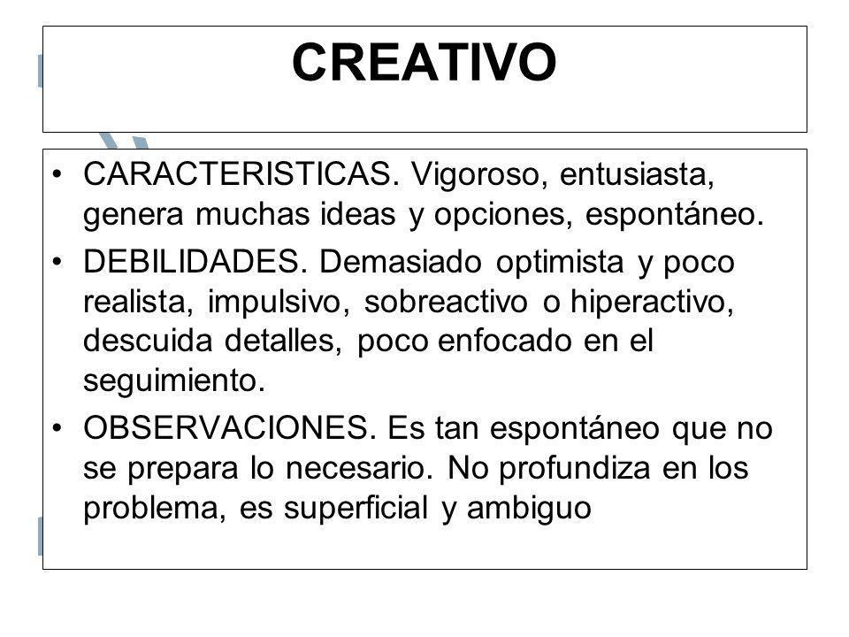 CREATIVOCARACTERISTICAS. Vigoroso, entusiasta, genera muchas ideas y opciones, espontáneo.