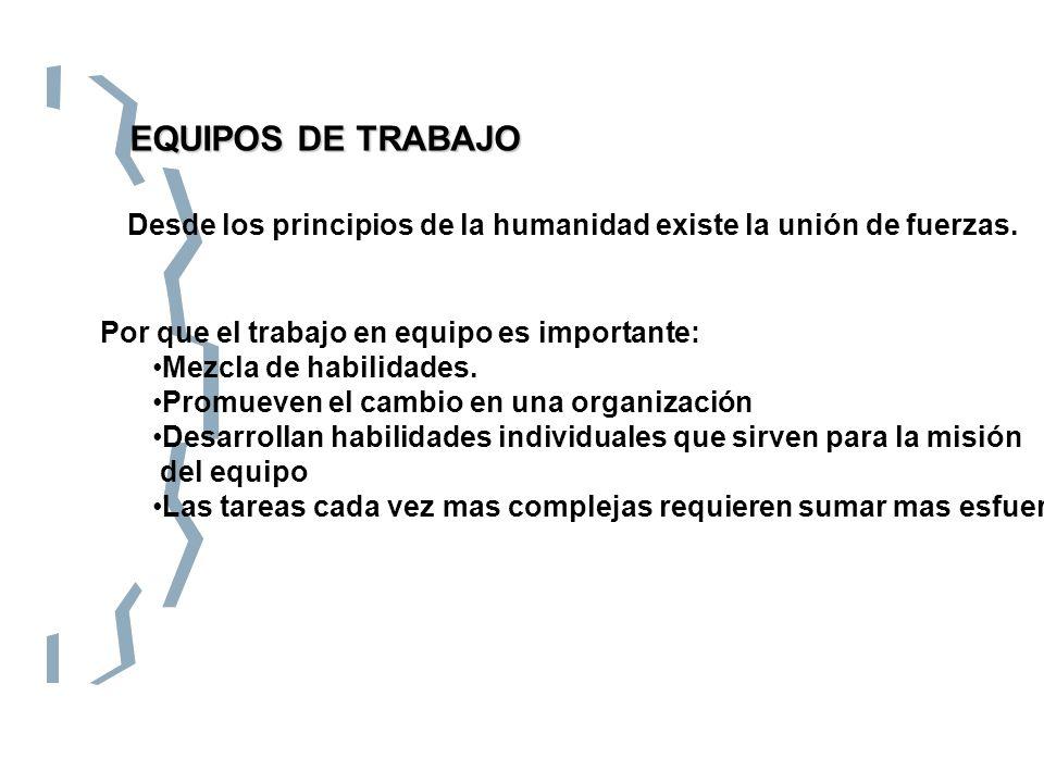 EQUIPOS DE TRABAJO Desde los principios de la humanidad existe la unión de fuerzas. Por que el trabajo en equipo es importante: