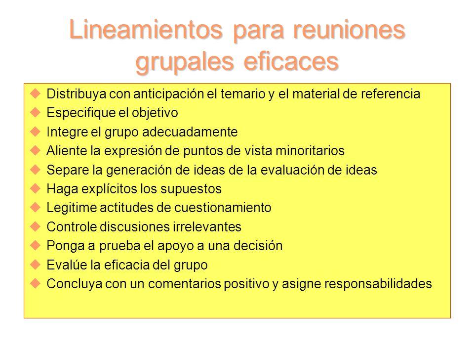Lineamientos para reuniones grupales eficaces