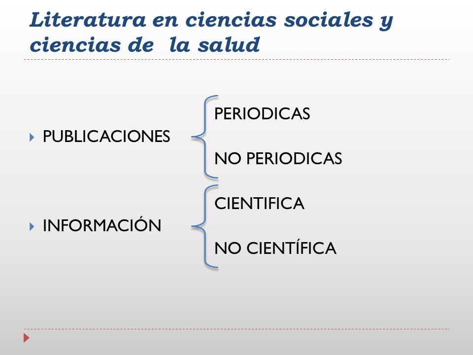 Literatura en ciencias sociales y ciencias de la salud