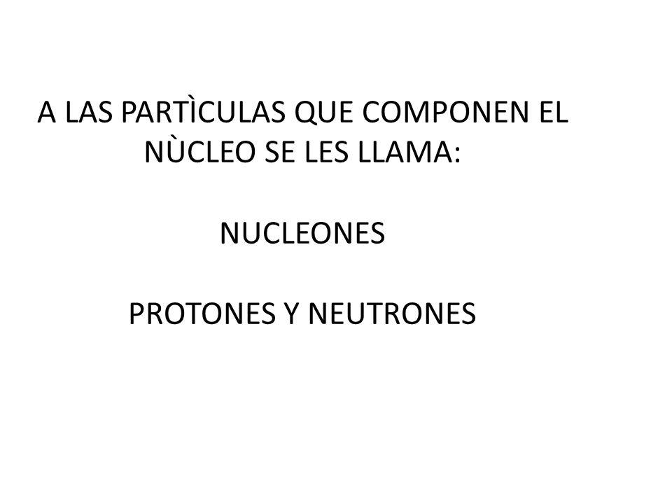 A LAS PARTÌCULAS QUE COMPONEN EL NÙCLEO SE LES LLAMA: NUCLEONES PROTONES Y NEUTRONES