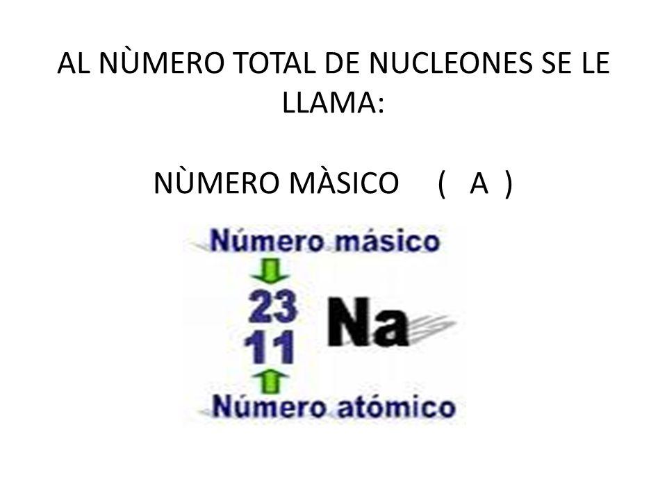 AL NÙMERO TOTAL DE NUCLEONES SE LE LLAMA: NÙMERO MÀSICO ( A )