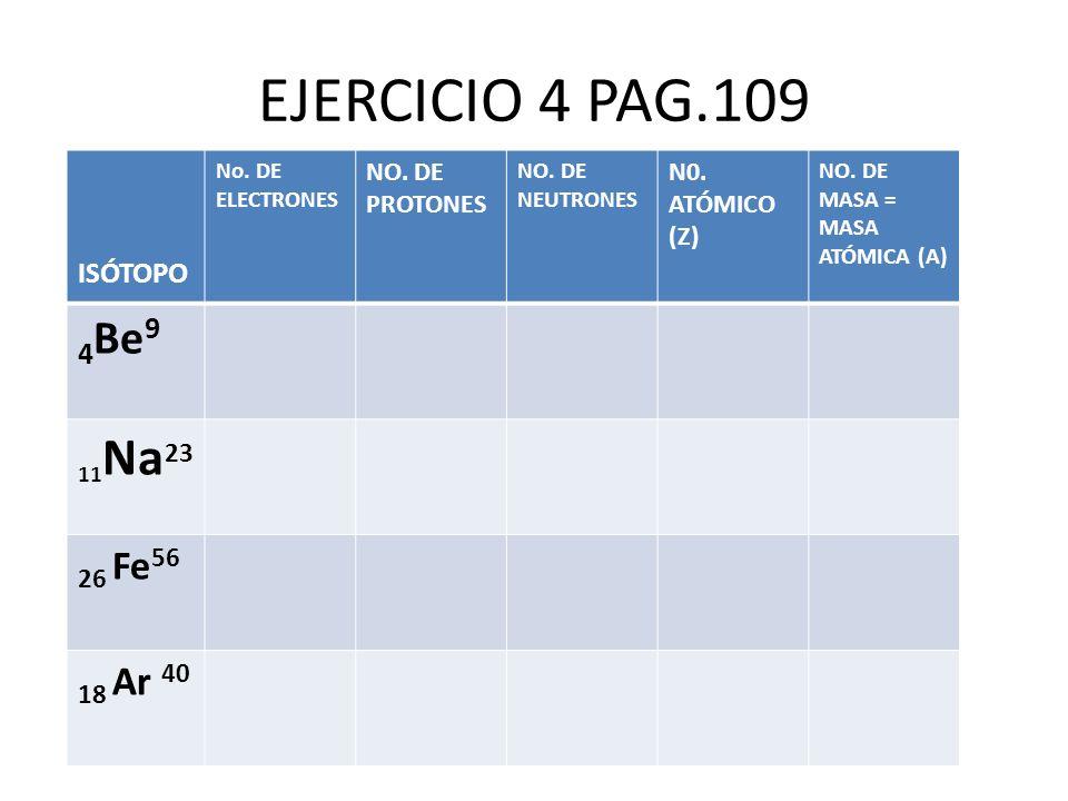 EJERCICIO 4 PAG.109 ISÓTOPO 4Be9 26 Fe56 18 Ar 40 11Na23