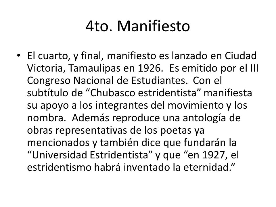 4to. Manifiesto
