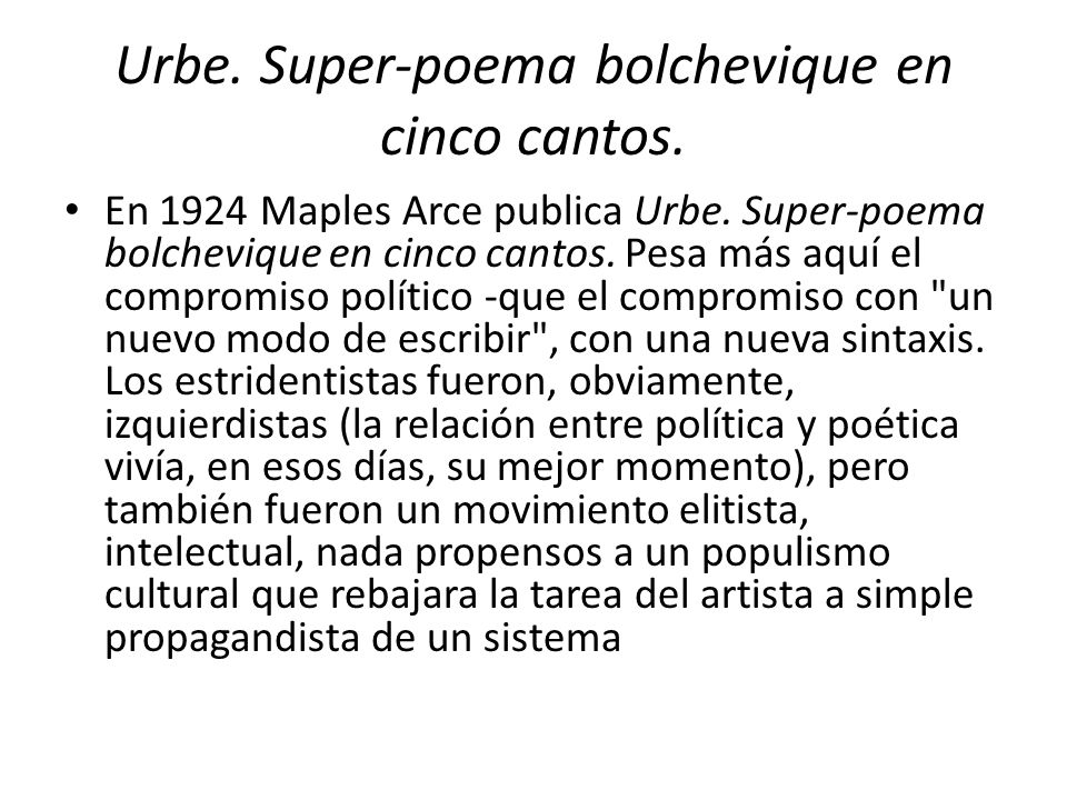 Urbe. Super-poema bolchevique en cinco cantos.