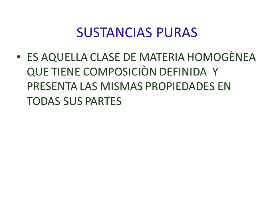 SUSTANCIAS PURAS ES AQUELLA CLASE DE MATERIA HOMOGÈNEA QUE TIENE COMPOSICIÒN DEFINIDA Y PRESENTA LAS MISMAS PROPIEDADES EN TODAS SUS PARTES.