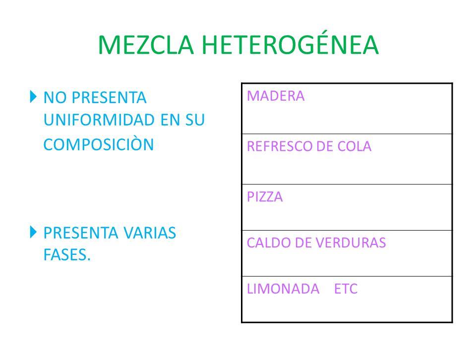 MEZCLA HETEROGÉNEA NO PRESENTA UNIFORMIDAD EN SU COMPOSICIÒN