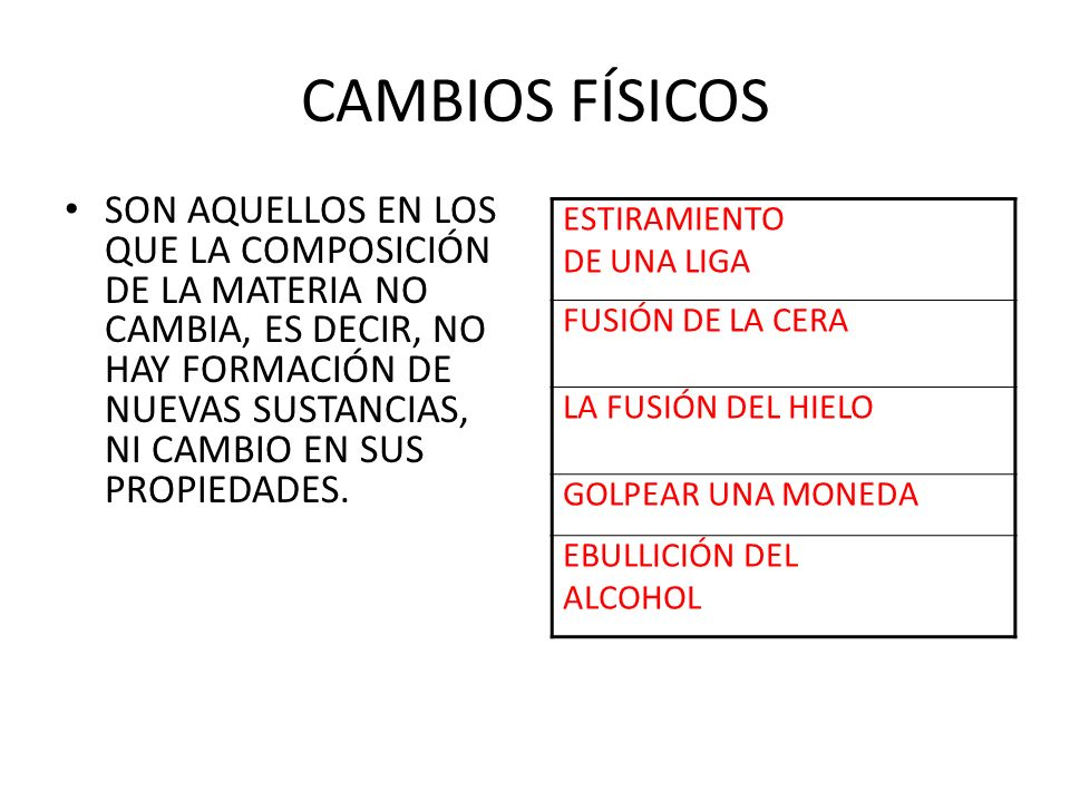 CAMBIOS FÍSICOS