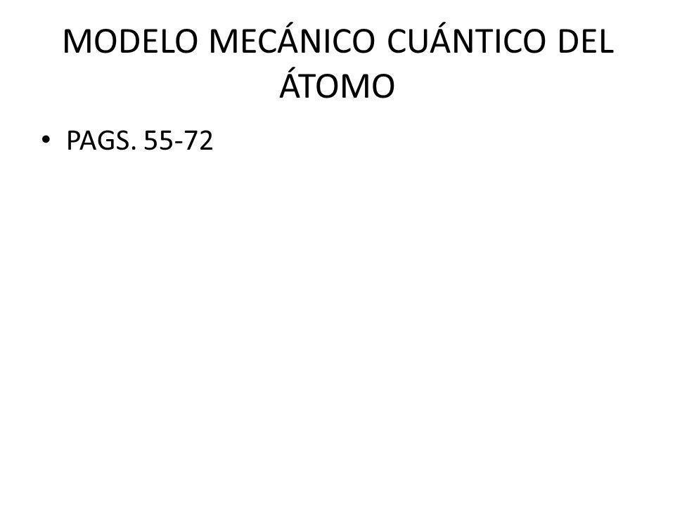 MODELO MECÁNICO CUÁNTICO DEL ÁTOMO