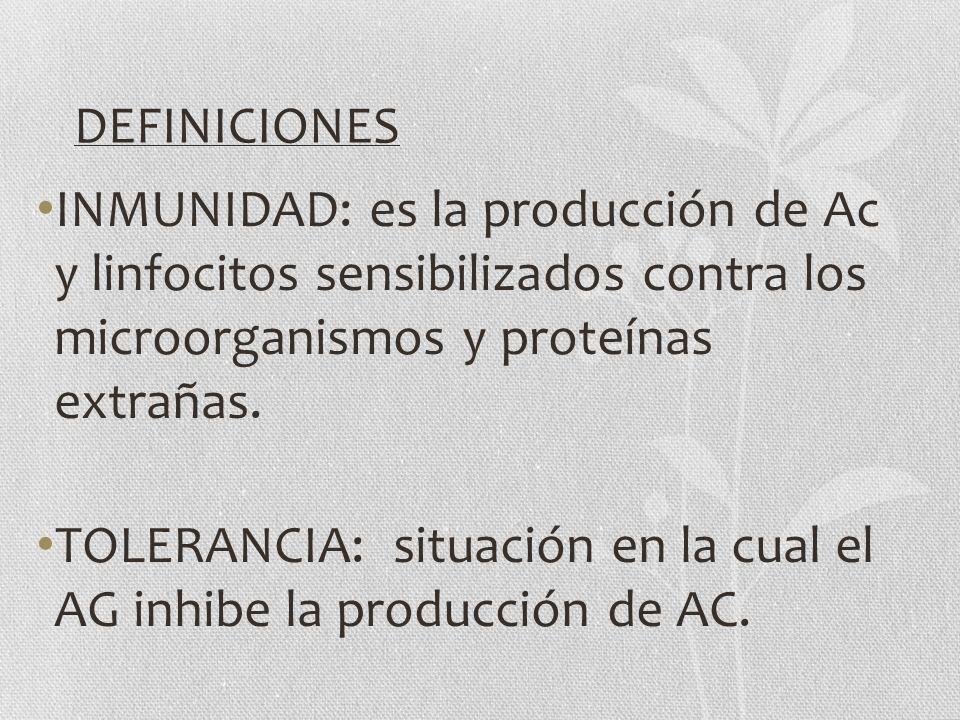 DEFINICIONES INMUNIDAD: es la producción de Ac y linfocitos sensibilizados contra los microorganismos y proteínas extrañas.