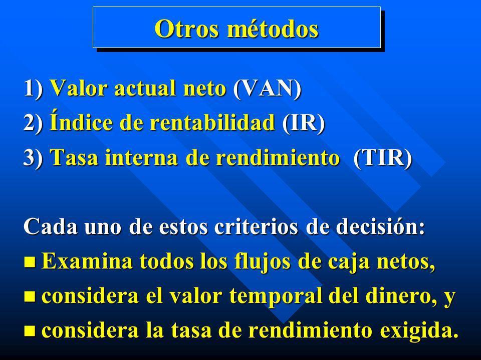 Otros métodos 1) Valor actual neto (VAN)